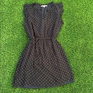 Black and gold polka dot silk LOFT dress, Large
